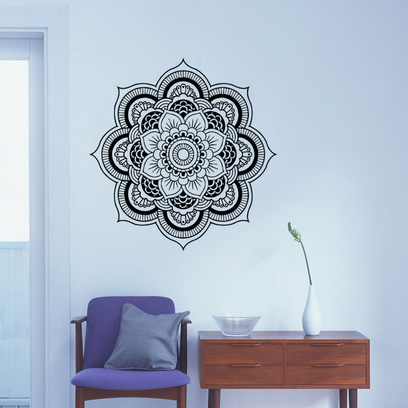 Removable mandala wall decal flower vinyl wall decor for Mural mandala