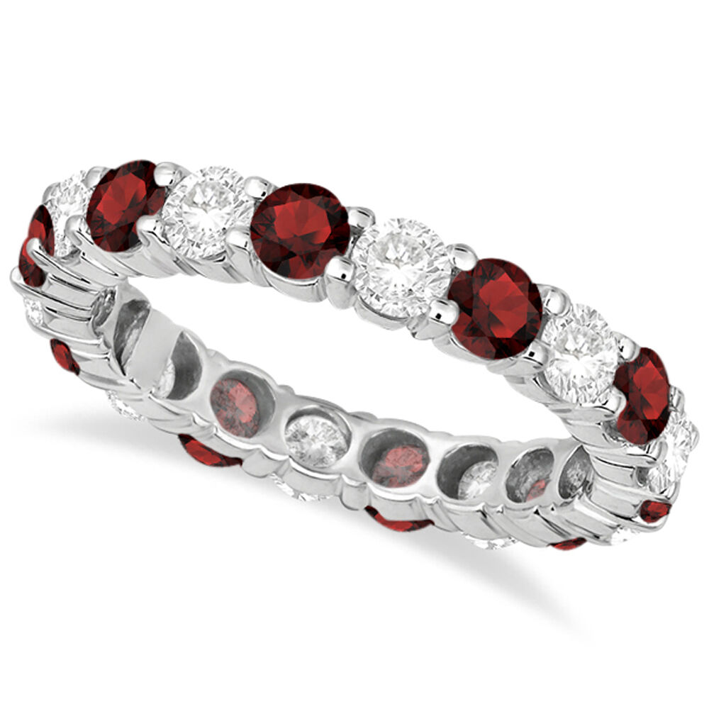 Garnet Ring Bands: 3.50CT Garnet & Diamond Eternity Ring 14K White Gold