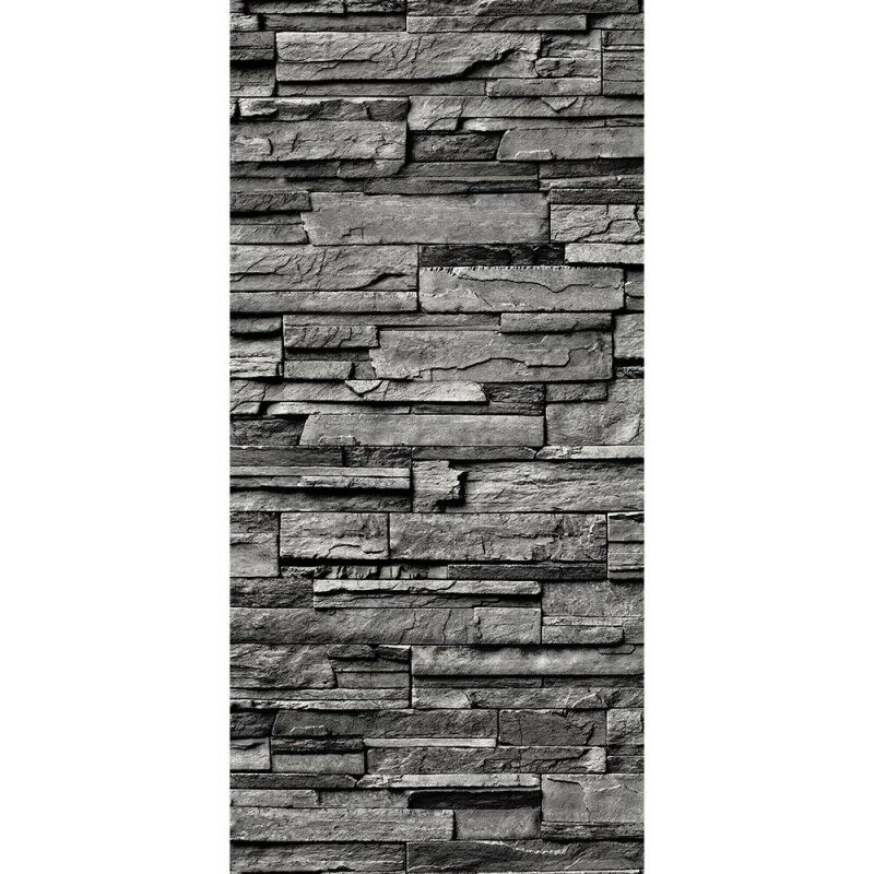 t r fototapete noble stone wall anthrazit 100x211 cm steinwand steinopti ebay. Black Bedroom Furniture Sets. Home Design Ideas