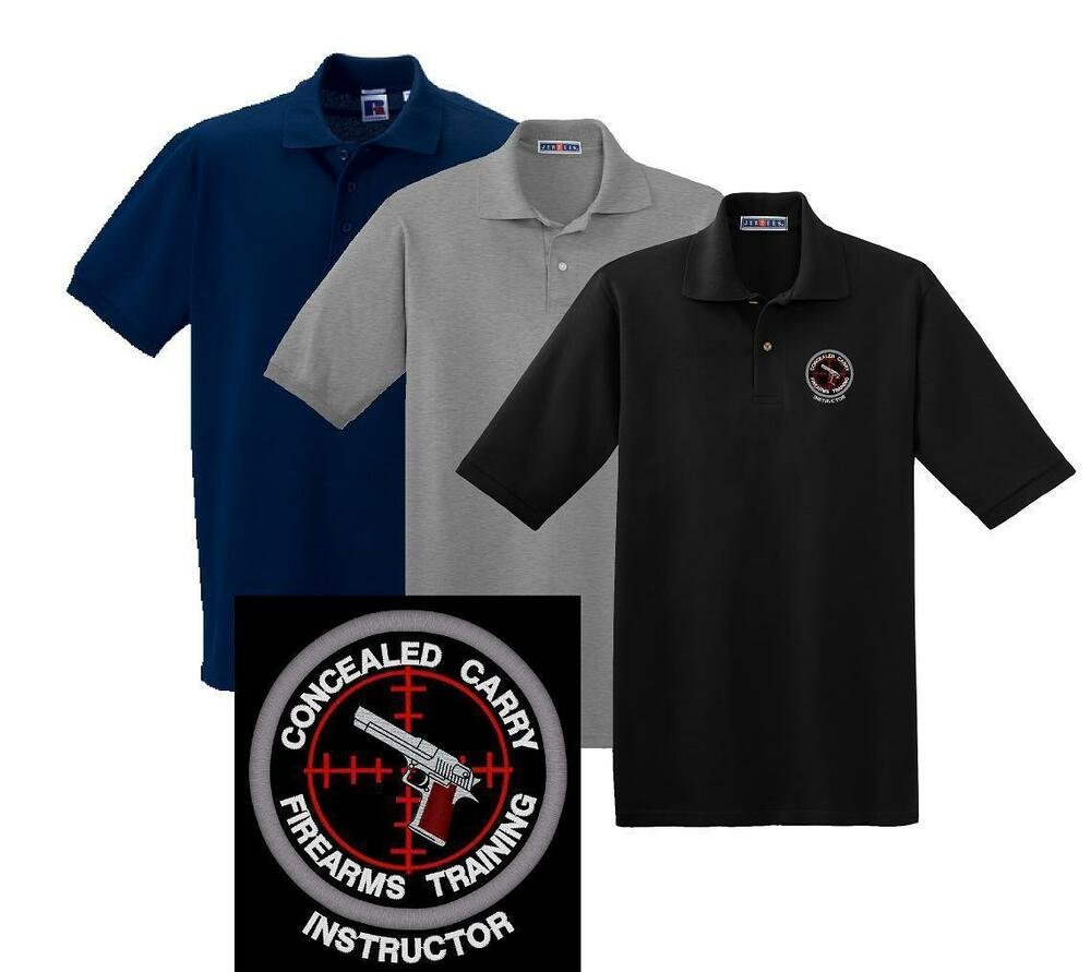 Concealed carry firearms training instructor polo shirt m for Mens 5x polo shirts