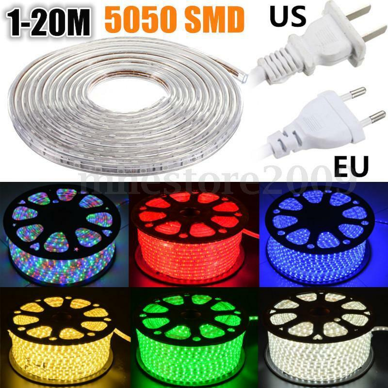 Outdoor Waterproof Tape Lights: 1-20m 5050 LED SMD Flexible Tape Rope Strip Light Xmas