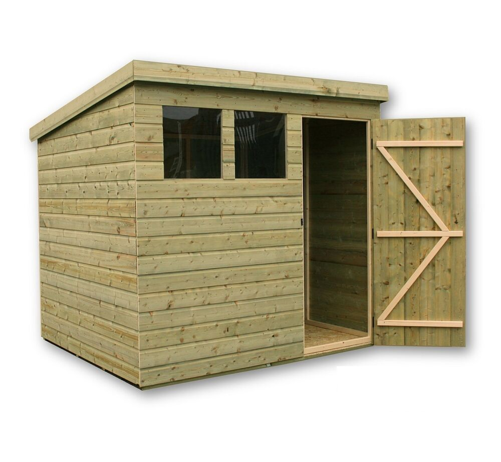 Wooden garden shed 8x6 shiplap pent shed tanalised for Garden shed 8x6