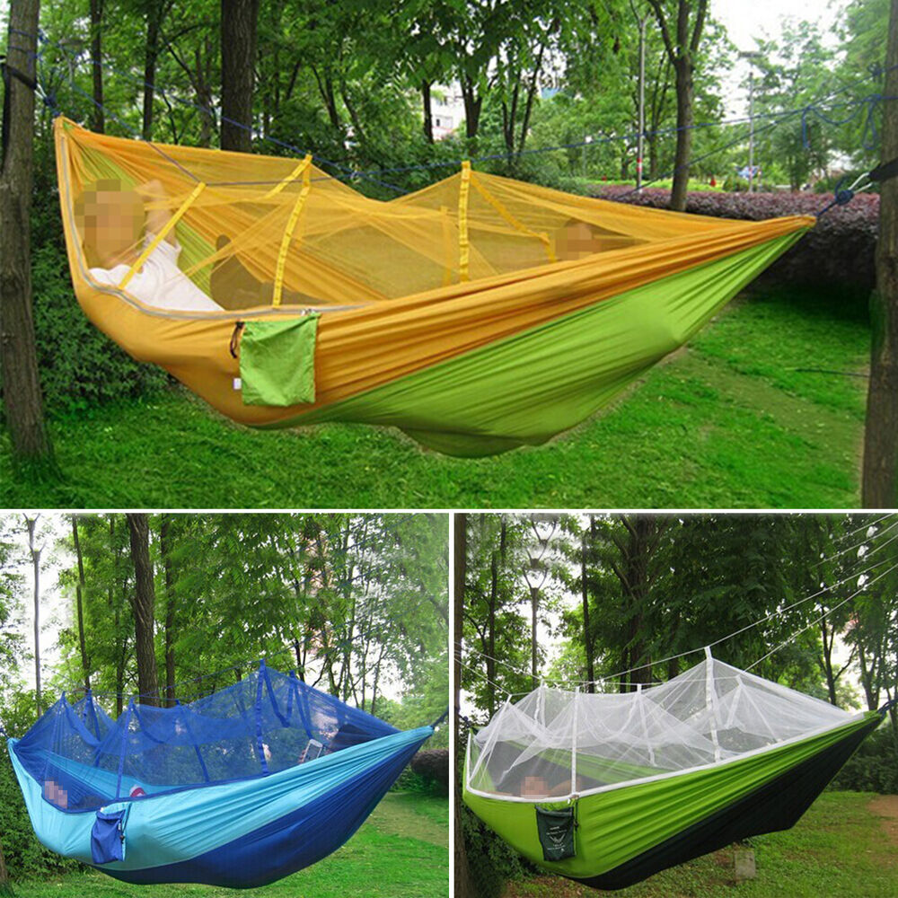 Anti mosquito nets parachute cloth hammock swing hanging for Net hammock bed