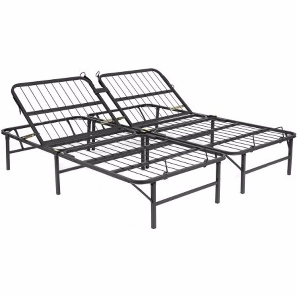 Adjustable Full Queen Bed Frame : Metal bed frame queen size base adjustable head platform