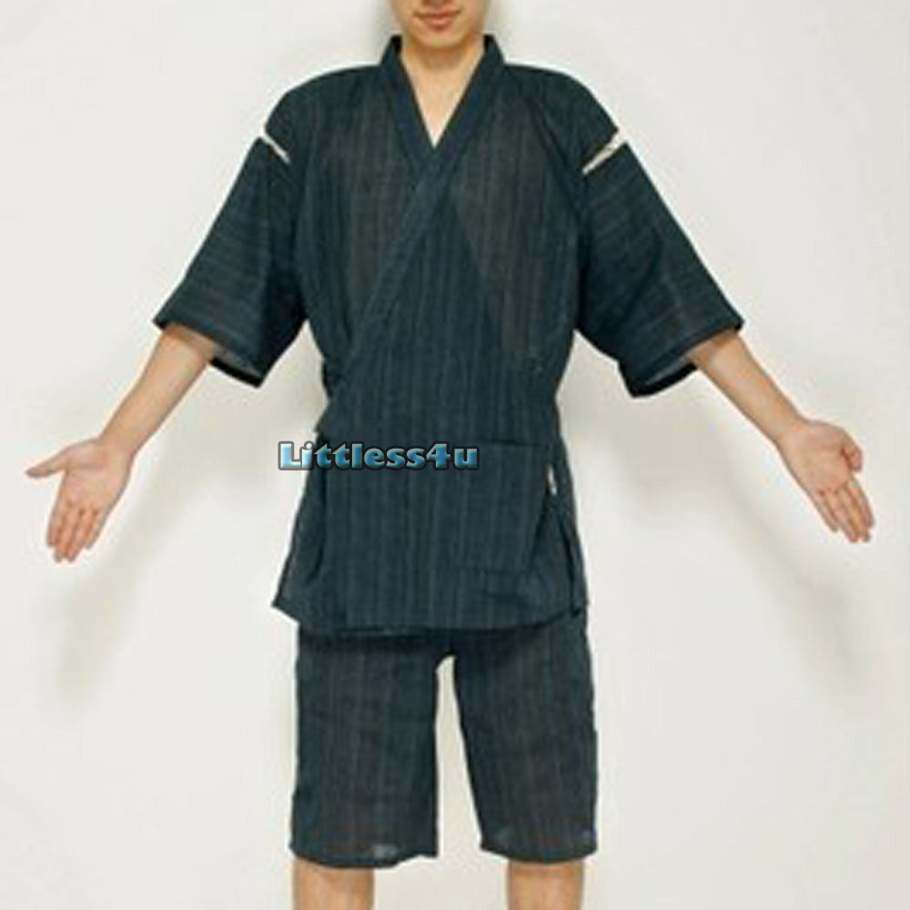 herren leinen baumwolle kimono yukata japanisch anzug bequem shorts pyjama ebay. Black Bedroom Furniture Sets. Home Design Ideas