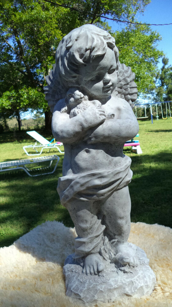 Sweet Boy Angel With Bunny Rabbit Gray Cement Antiqued