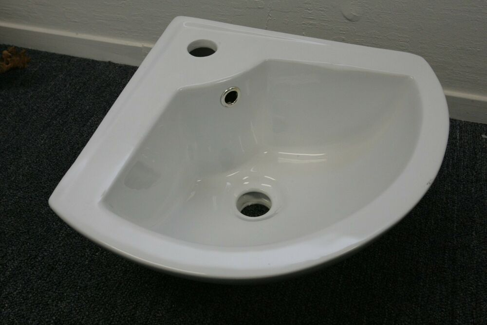 Wall mount white bathroom corner porcelain ceramic basin vanity faucet sink ebay Used bathroom vanity with sink
