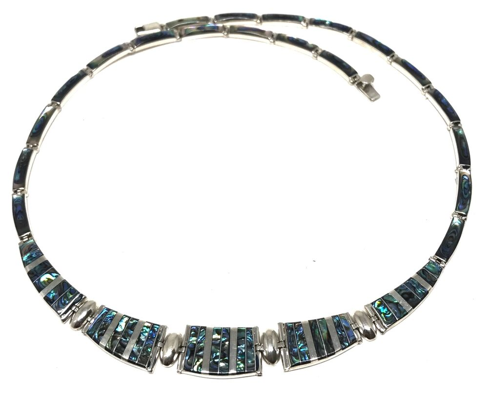 TAXCO MEXICAN 950 STERLING SILVER ABALONE NECKLACE MEXICO ...