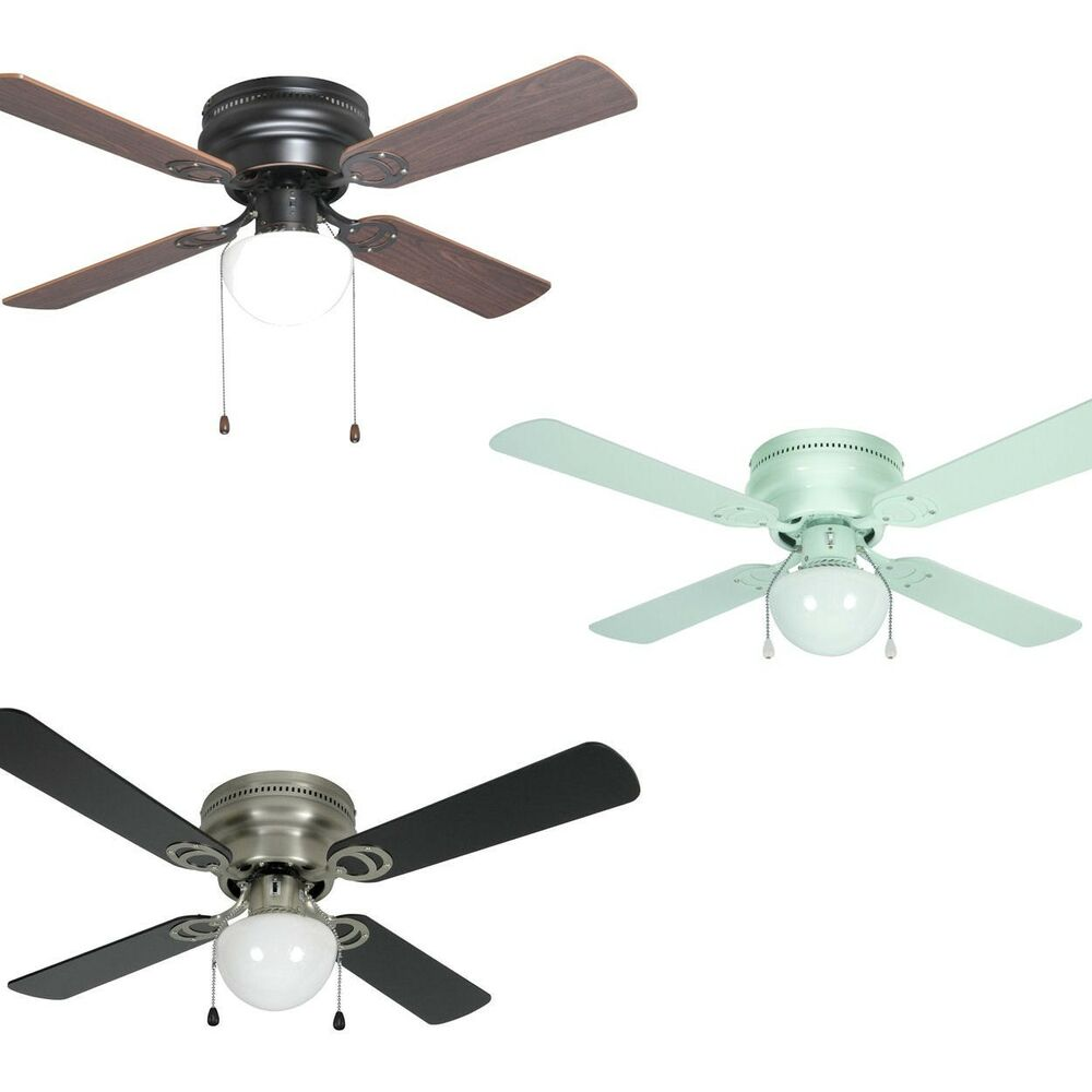 42 inch flush mount hugger ceiling fan w light kit satin nickel bronze or white ebay. Black Bedroom Furniture Sets. Home Design Ideas