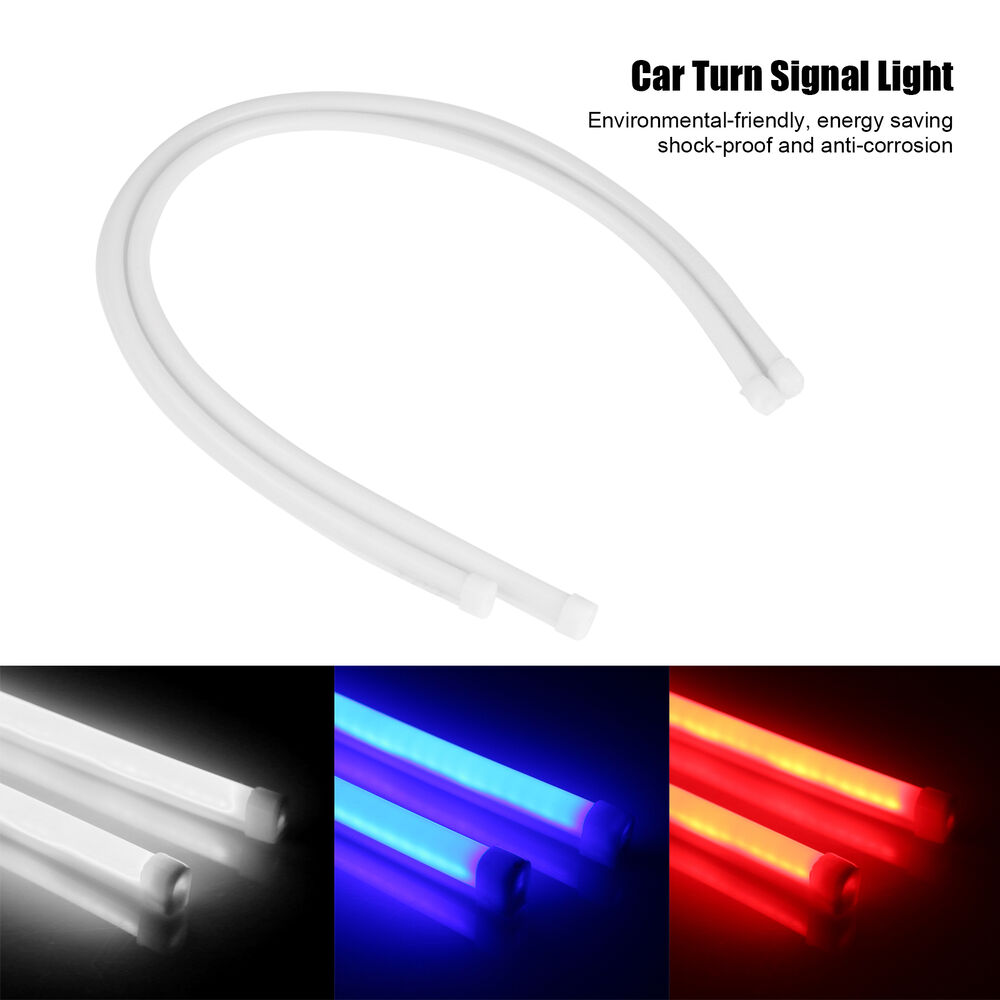 "2X 60CM/24"" Flexible Tube Headlight Car LED Strip DRL Turn ..."