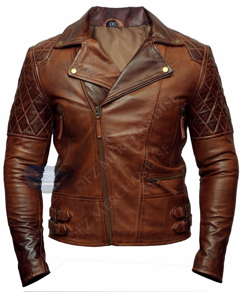 Mens Biker Motorcycle Vintage Distressed Brown Winter ...