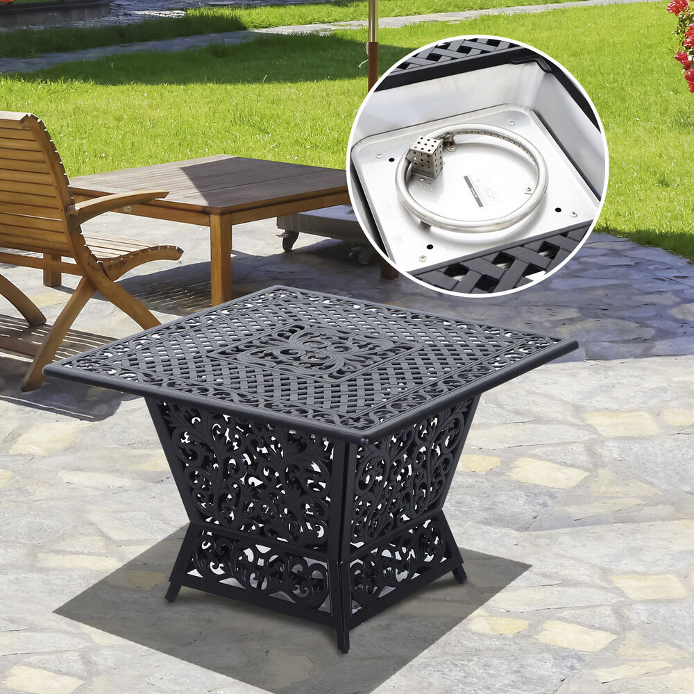 Gas fire pit table cast aluminum square outdoor fireplace