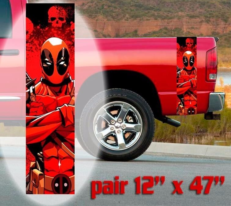 Red Color Deadpool Bedside Graphics Vinyl Sticker Decal