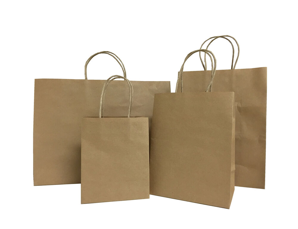 Brown paper gift bags with handles