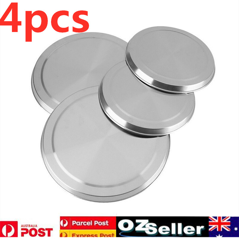 4pcs set round stainless steel stove top cover cooktop protect burner protectors ebay. Black Bedroom Furniture Sets. Home Design Ideas