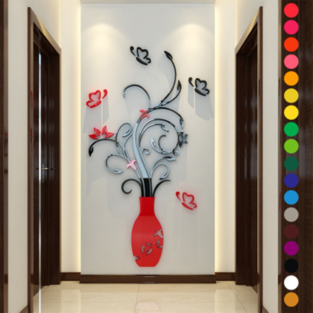 Removable mirror flower vase wall sticker home room decor for Decoration mural