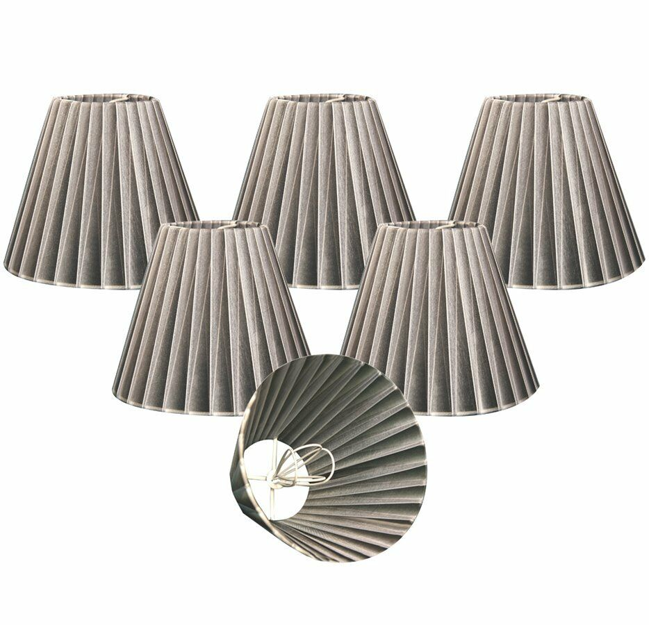chandelier lamp shades set of 6 empire organza gray clip on ebay. Black Bedroom Furniture Sets. Home Design Ideas
