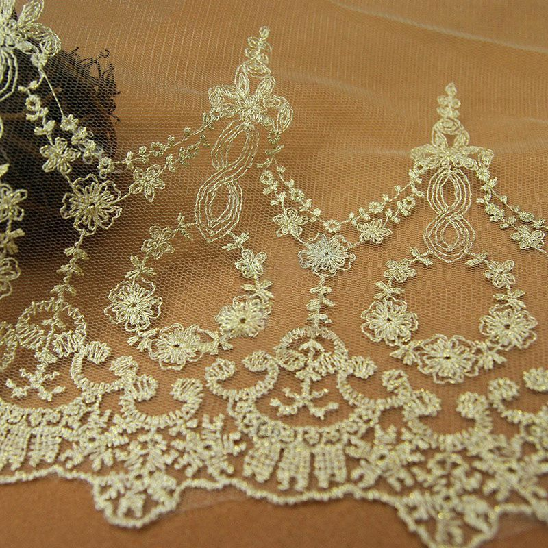 Vintage lace trims tulle floral embroidered trimming