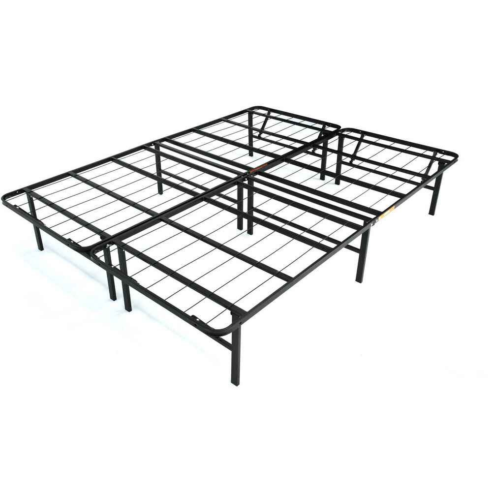 Metal Platform Bed King Size Frame Base Foundation Black