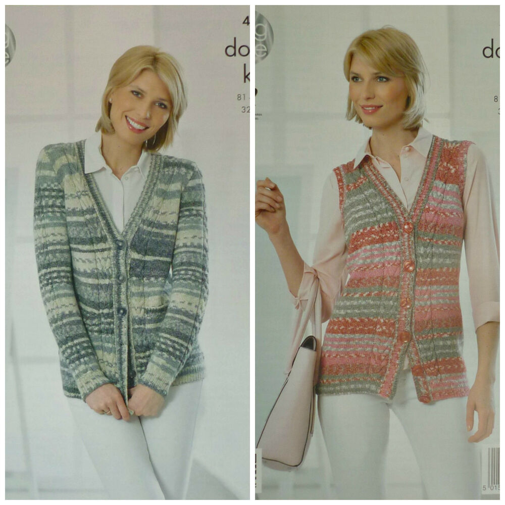 Knitting Patterns Ladies Waistcoats : KNITTING PATTERN Ladies Long Sleeve V-Neck Long Waistcoat Drifter DK 4256 eBay