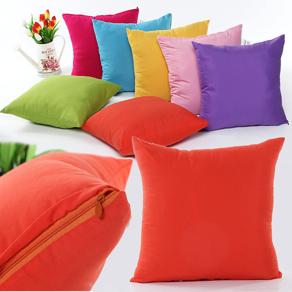 Handmade Plain Solid Throw Home Decor Pillow Case Bed Sofa ...