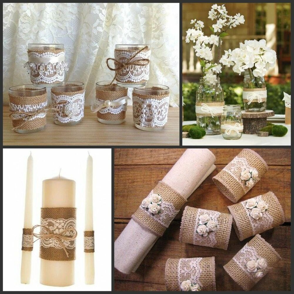 Jute Burlap Natural Hessian Ribbon With Lace Trim Edge ...