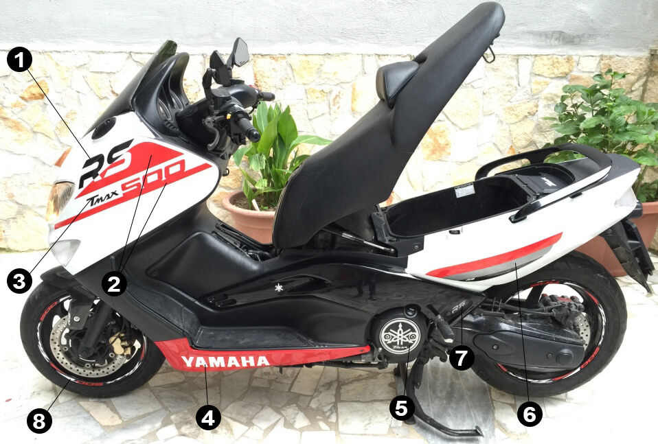 kit adesivi tmax 500 rs scooter yamaha t max stickers racing decals tuning ebay. Black Bedroom Furniture Sets. Home Design Ideas
