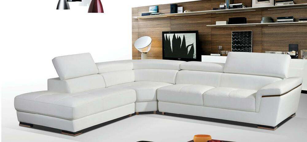Contemporary White Genuine Leather Sectional Sofa Left Hand Facing