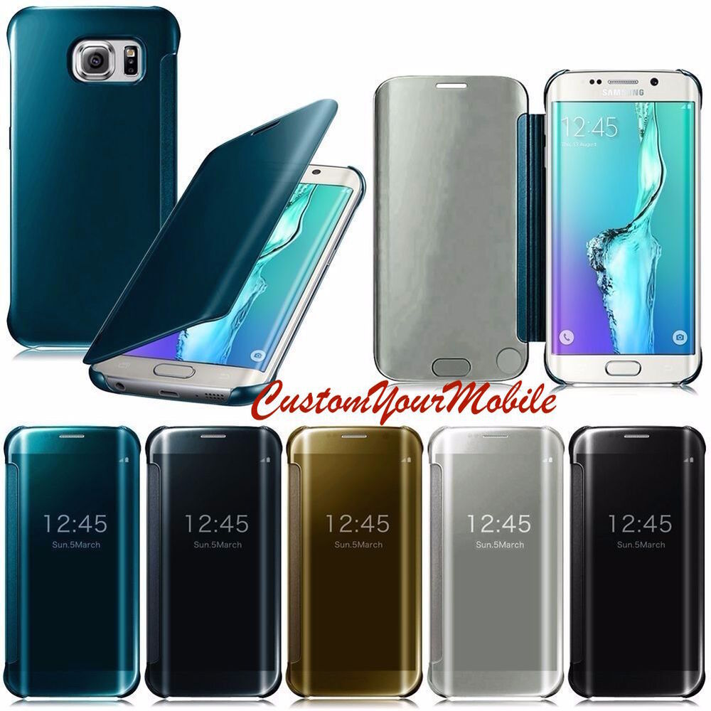 housse coque etui pochette flip cover puce miroir samsung galaxy s6 s7 edge ebay. Black Bedroom Furniture Sets. Home Design Ideas