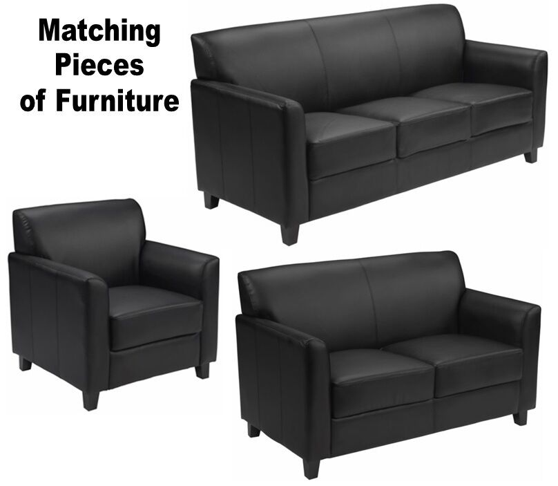 Matching Black Leather Furniture Sofa Loveseat Chair Sofas Chairs Office Lobby Ebay