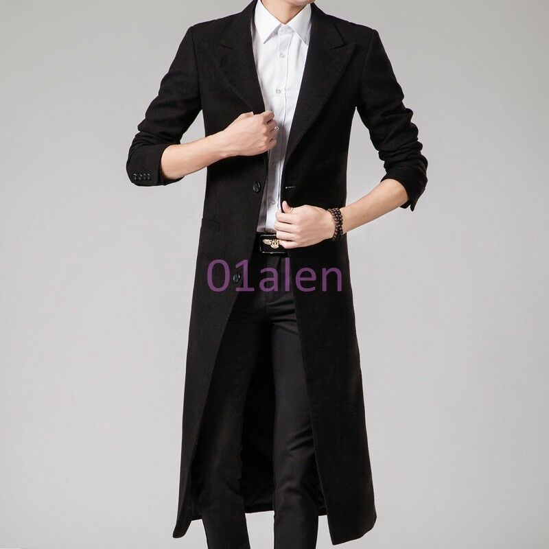 HOT Mens Slim Fit Wool Blend Full Length Long Trench Coat Business ...