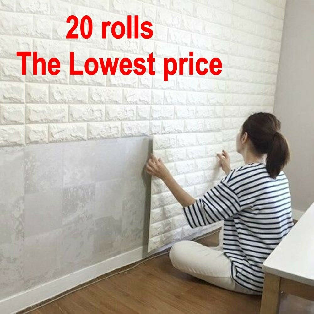 20 rolls 3d effect stone brick wall textured vinyl for Wallpaper with adhesive backing
