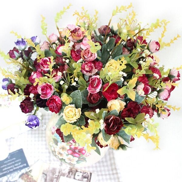 Artificial 21heads bouquet peony silk fake flowers for Artificial flowers decoration home