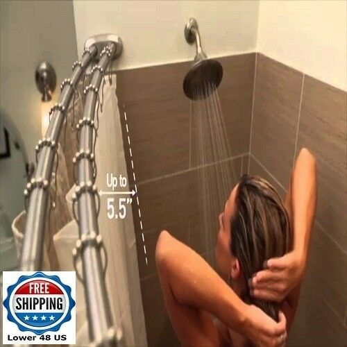 Double Shower Rod Oil Rubbed Bronze Curved Adjustable