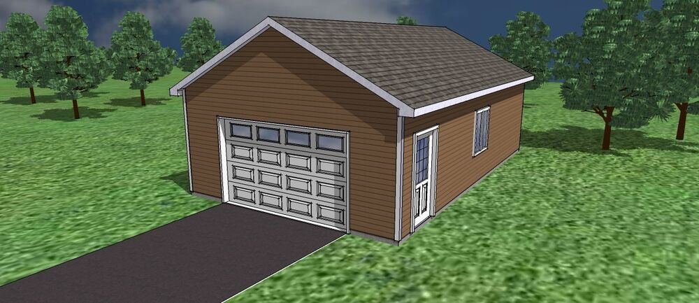 Garage plans 20 39 x 26 39 or 16 39 x 24 39 ebay for 20 x 24 garage plans