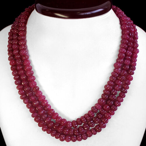 Red Ruby Beads: TOP BEST 625.00 CTS NATURAL CARVED 3 STRAND RED RUBY BEADS