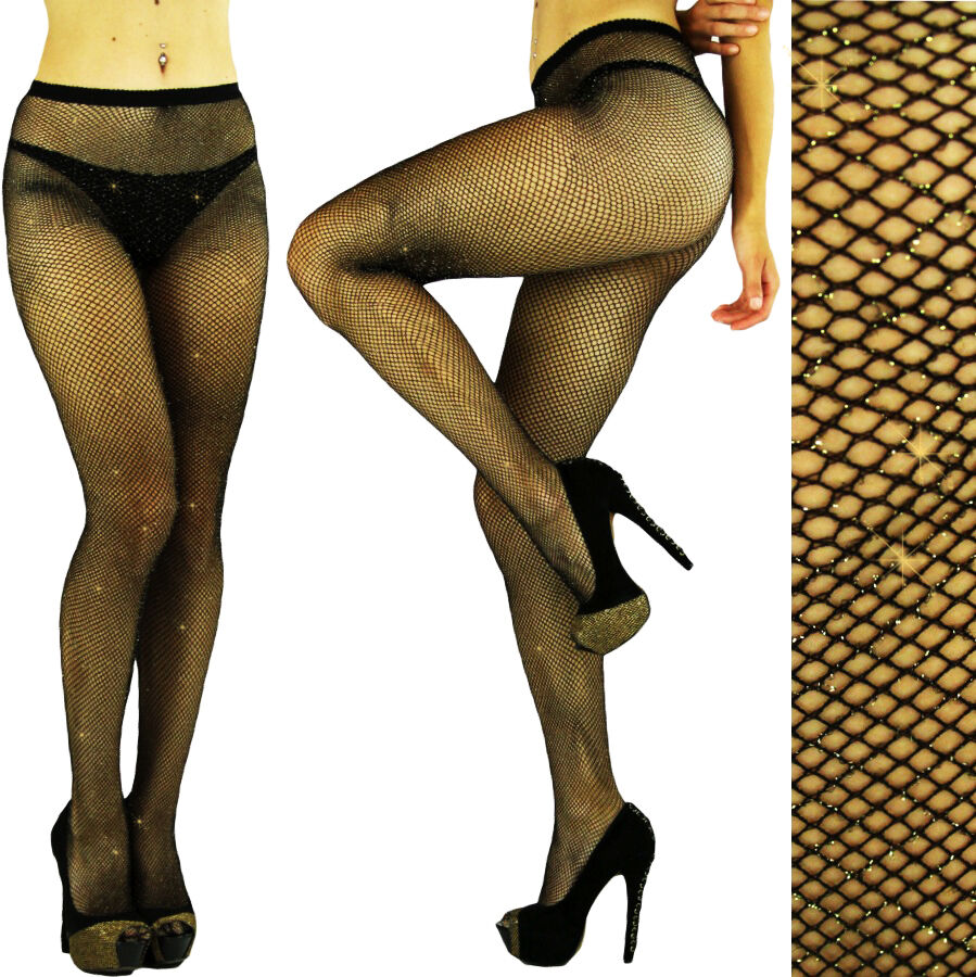 16bd1656d1f6c Black - Gold GLITTER FISHNET Seemless PANTYHOSE/TIGHTS/CROSSDRESSER/DRAG  QUEEN | eBay