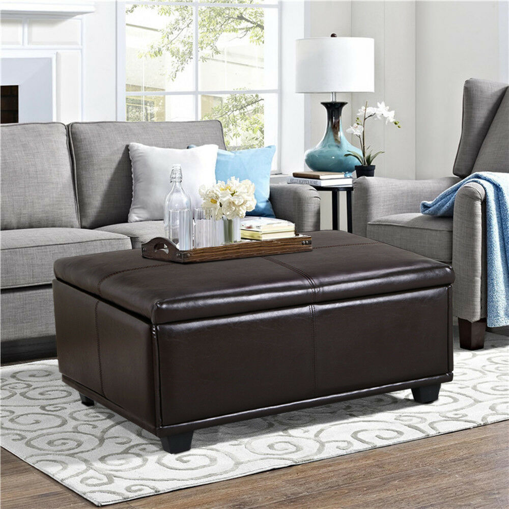 Large brown leather storage ottoman coffee table ebay Brown leather ottoman coffee table