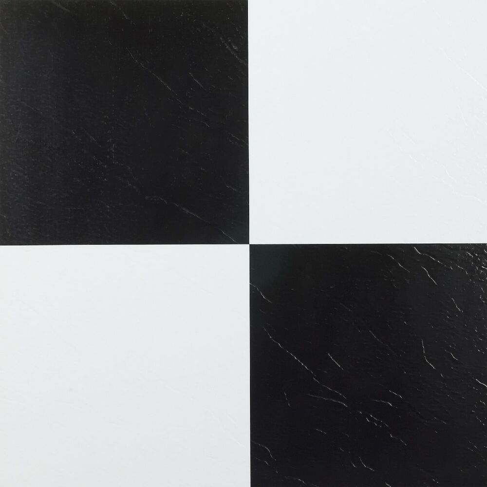 peel and stick tile self adhesive vinyl flooring black and white kitchen 45pc ebay. Black Bedroom Furniture Sets. Home Design Ideas