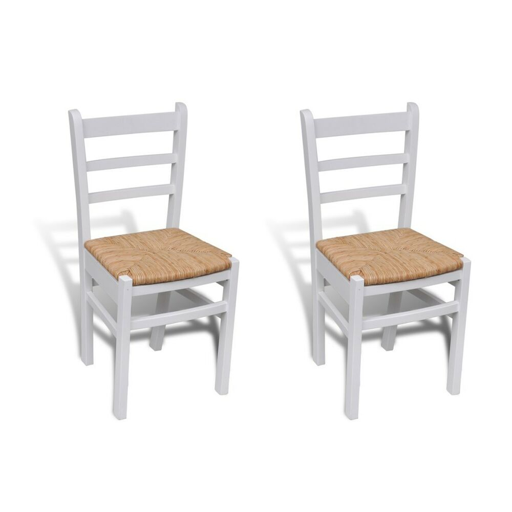 Details about 2x wooden dining chairs kitchen dining room white solid pine durable furniture
