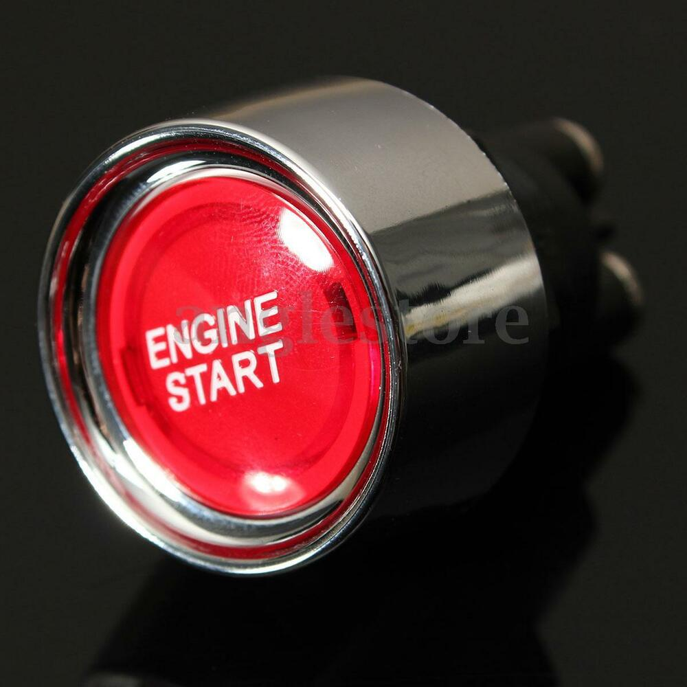universal 12v car red illuminated engine start switch push button race starter ebay. Black Bedroom Furniture Sets. Home Design Ideas