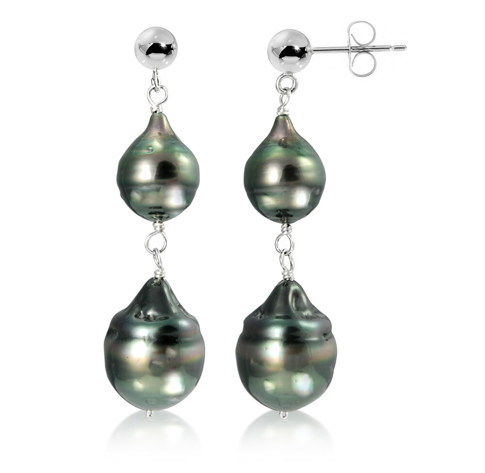 Sterling Silver Black Baroque Tahitian Cultured Pearl
