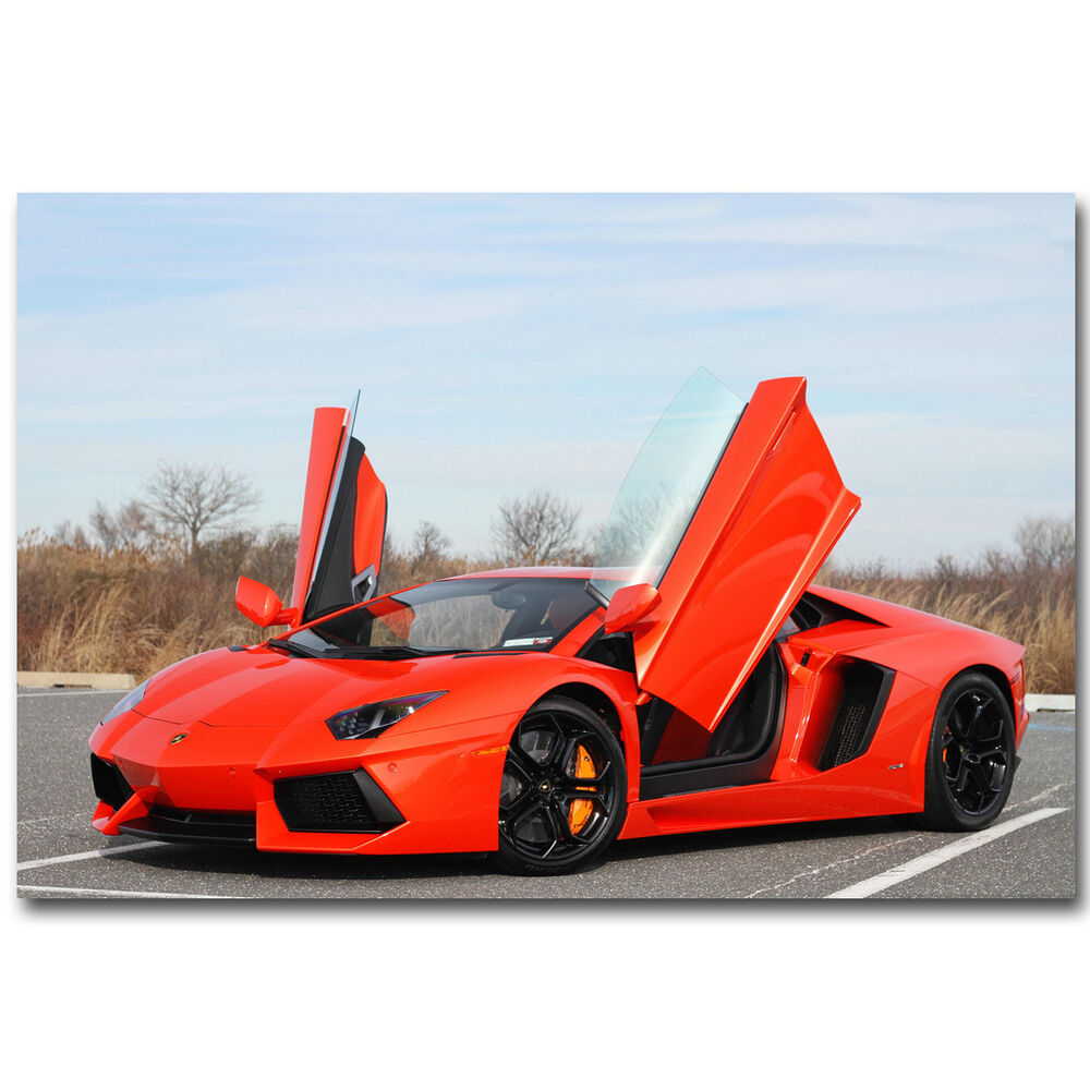 Lamborghini Car: Lamborghini Aventador Red Sports Cars Silk Poster 12x18