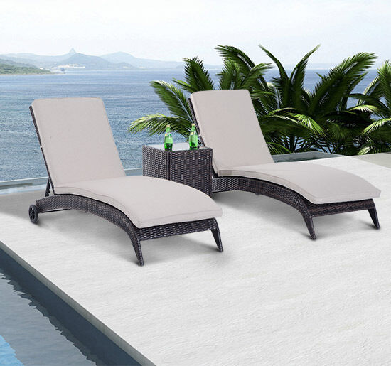 3pc Patio Wicker Rattan Chaise Lounge Set Outdoor Garden Furniture Pool W Whe