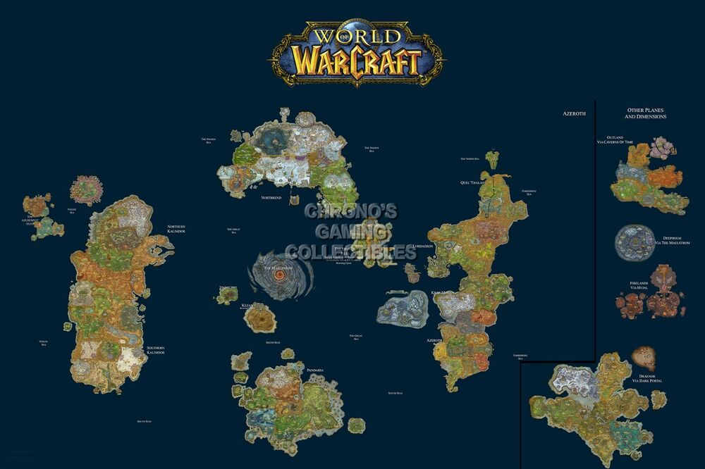 RGC Huge Poster   World of Warcraft World Map WOW PC   EXT185 | eBay