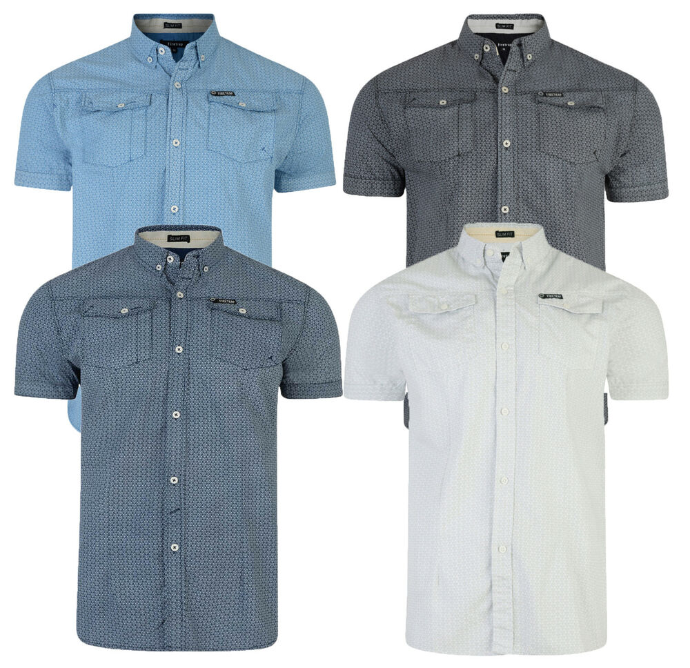 Firetrap men 39 s new short sleeve casual pattern shirt white for Mens short sleeve shirts