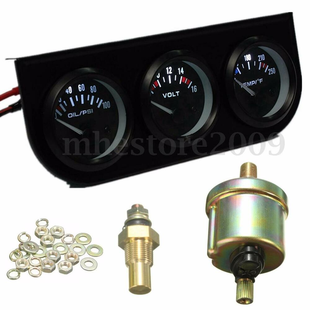 Electronic Voltmeter Gauges Oil And Water : Quot mm oil pressure volt water temp electronic gauge