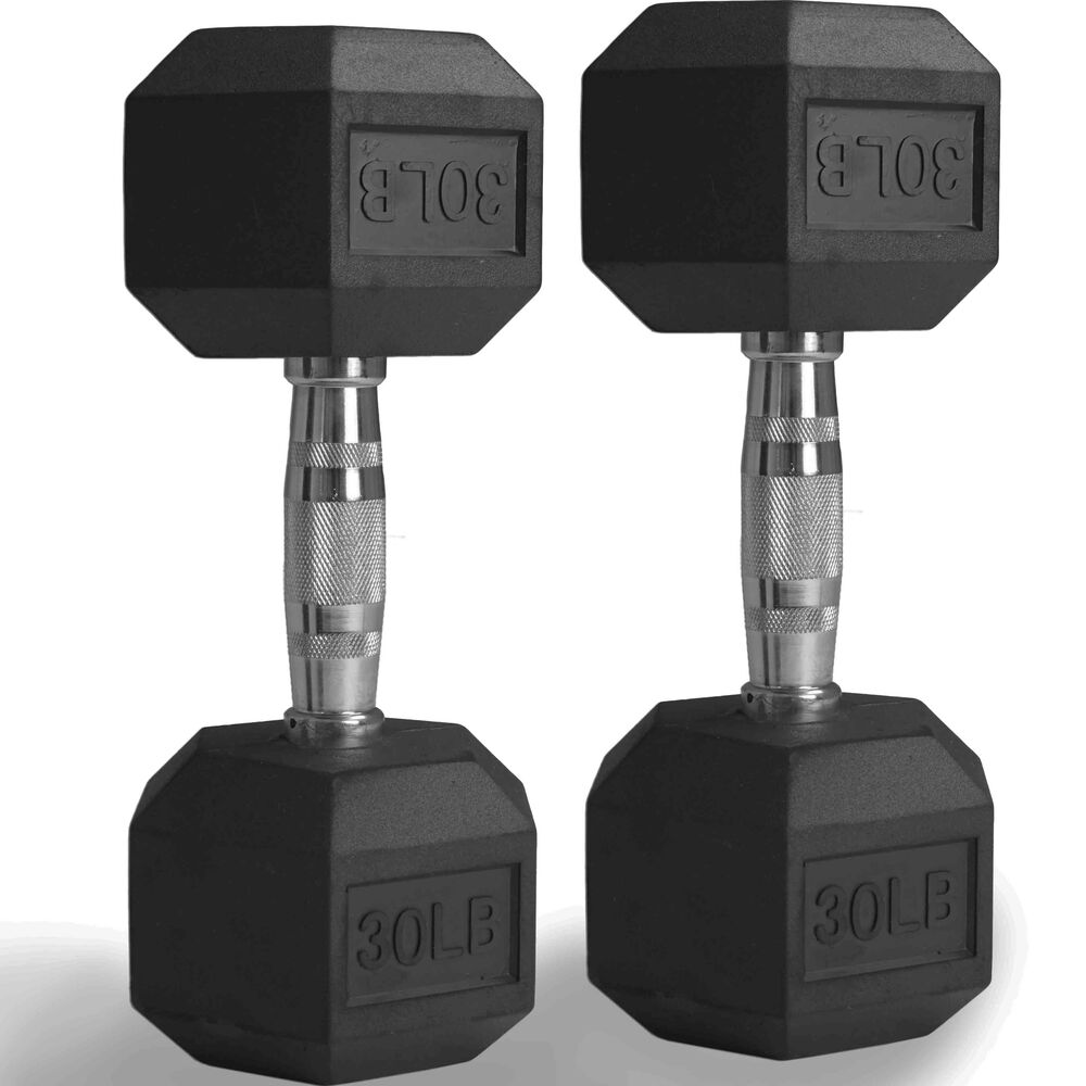 Pair 30 Lb Black Rubber Coated Hex Dumbbells Weight