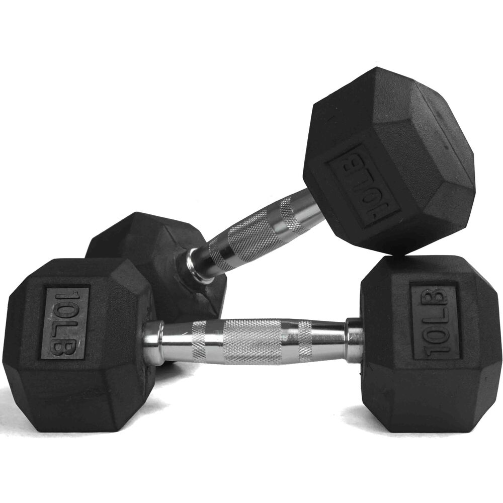 Rubber Dumbbell Set: Pair 10 Lb Black Rubber Coated Hex Dumbbells Weight