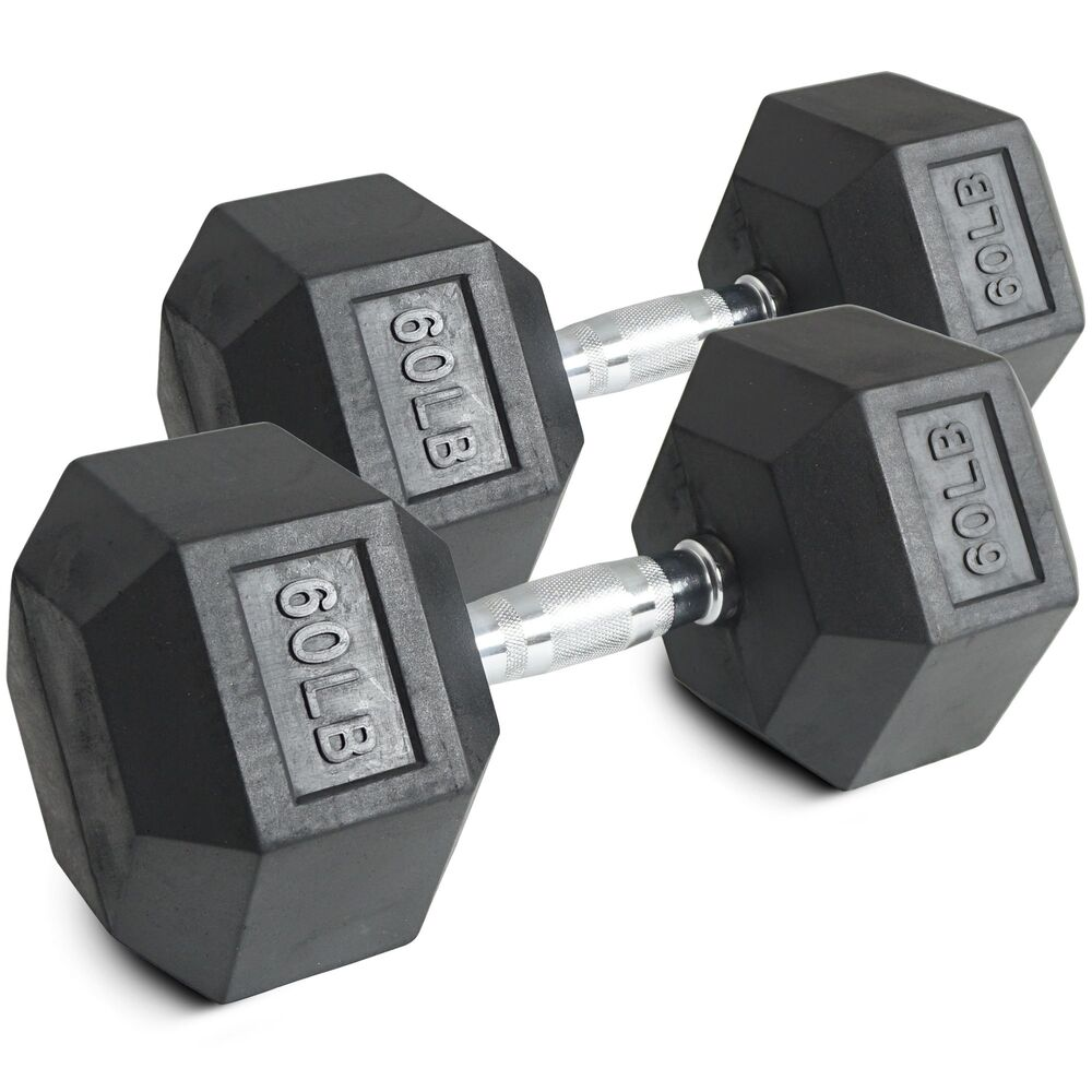 Pair 60 Lb Black Rubber Coated Hex Dumbbells Weight